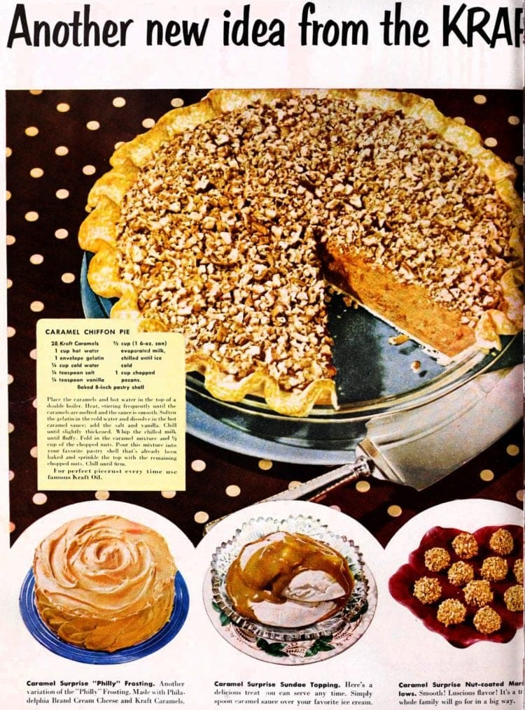 Caramel surprise chiffon pie recipe (1953)