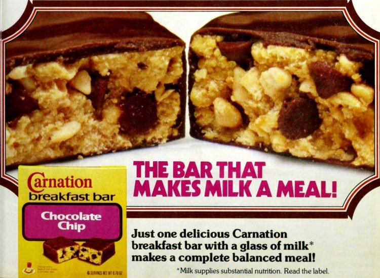 Carnation Breakfast Bars - Chocolate chip from 1984