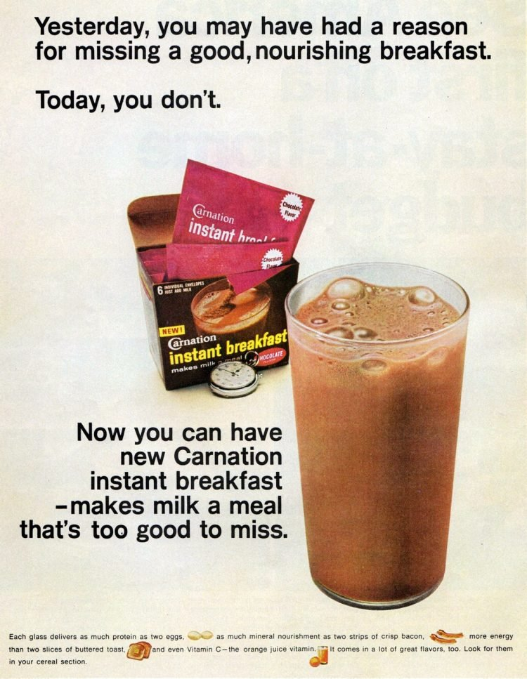Carnation Instant Breakfast powder to mix into milk - 1966