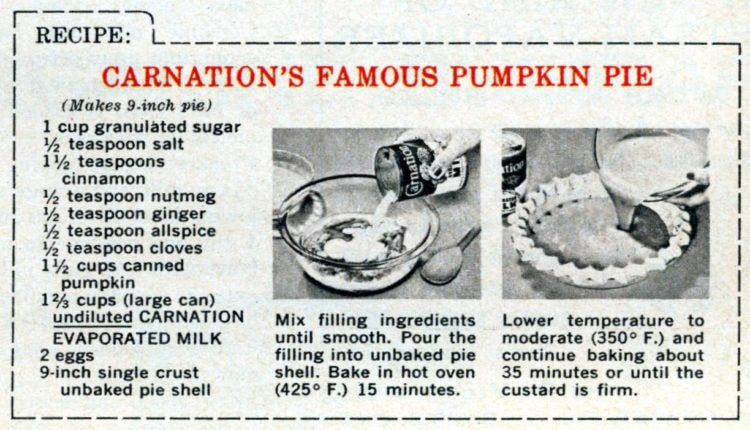 Carnation's famous pumpkin pie recipe card (1950s)