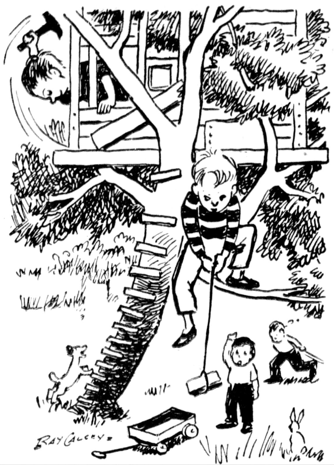 Cartoon from 1960 of kids making a treehouse fort