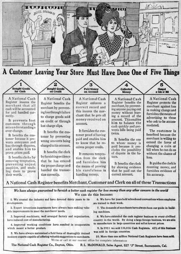 Cash registers in 1912