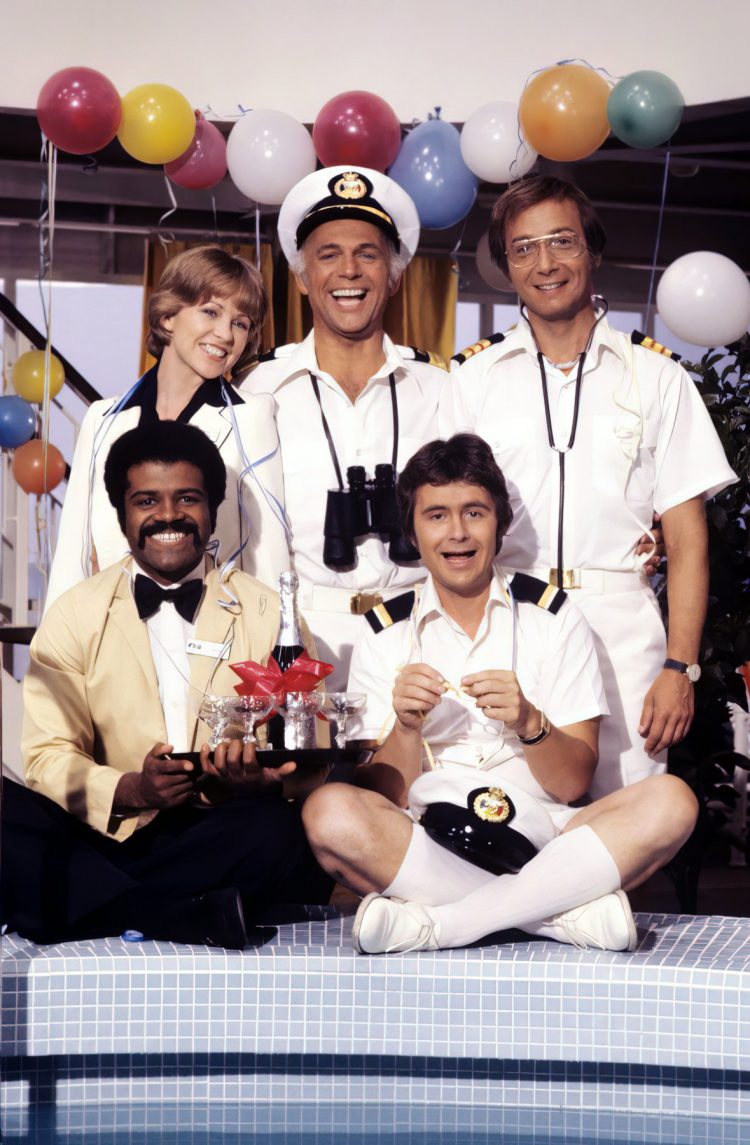 Cast of the vintage Love Boat TV show - around the ship's pool