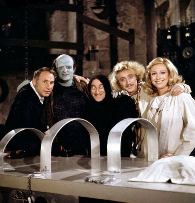Cast on set of Young Frankenstein movie - plus Mel Brooks