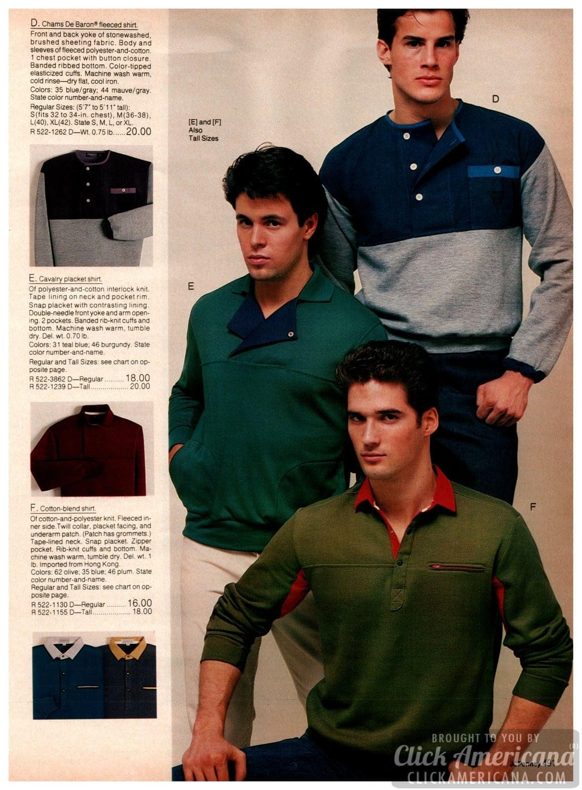 Fleeced shirts, sweatshirts and other outwear, plus cotton-blend shirts with contrasting color collars