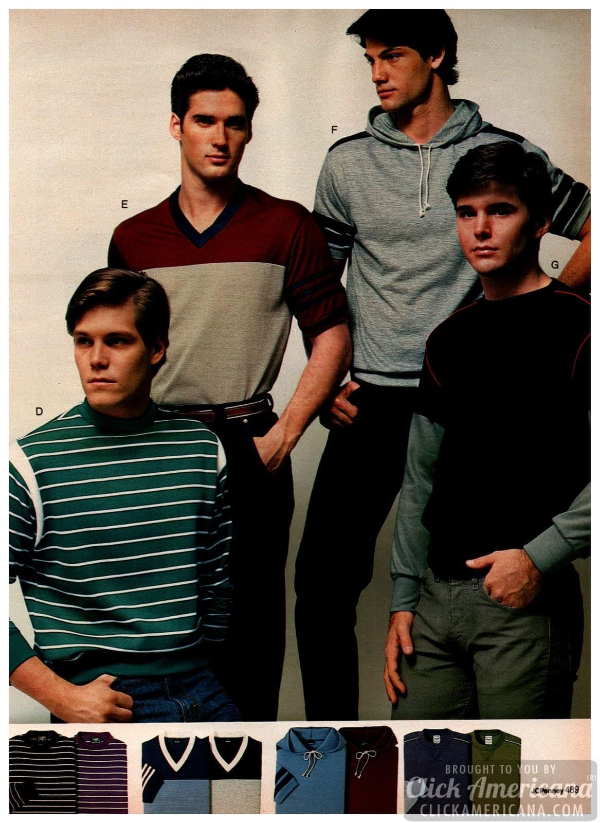 '80s pullovers, shirts with hoods, striped shirts and casual sportswear for men