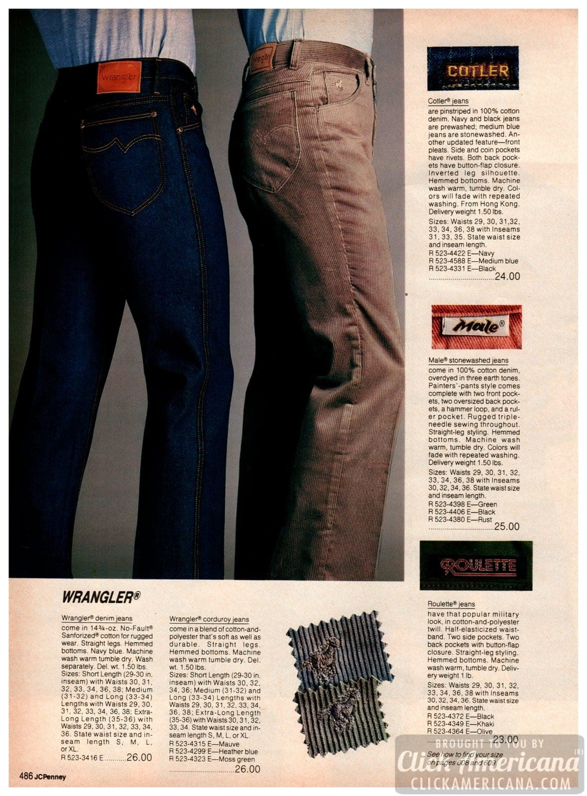 '80s Wrangler denim jeans and corduroy jeans