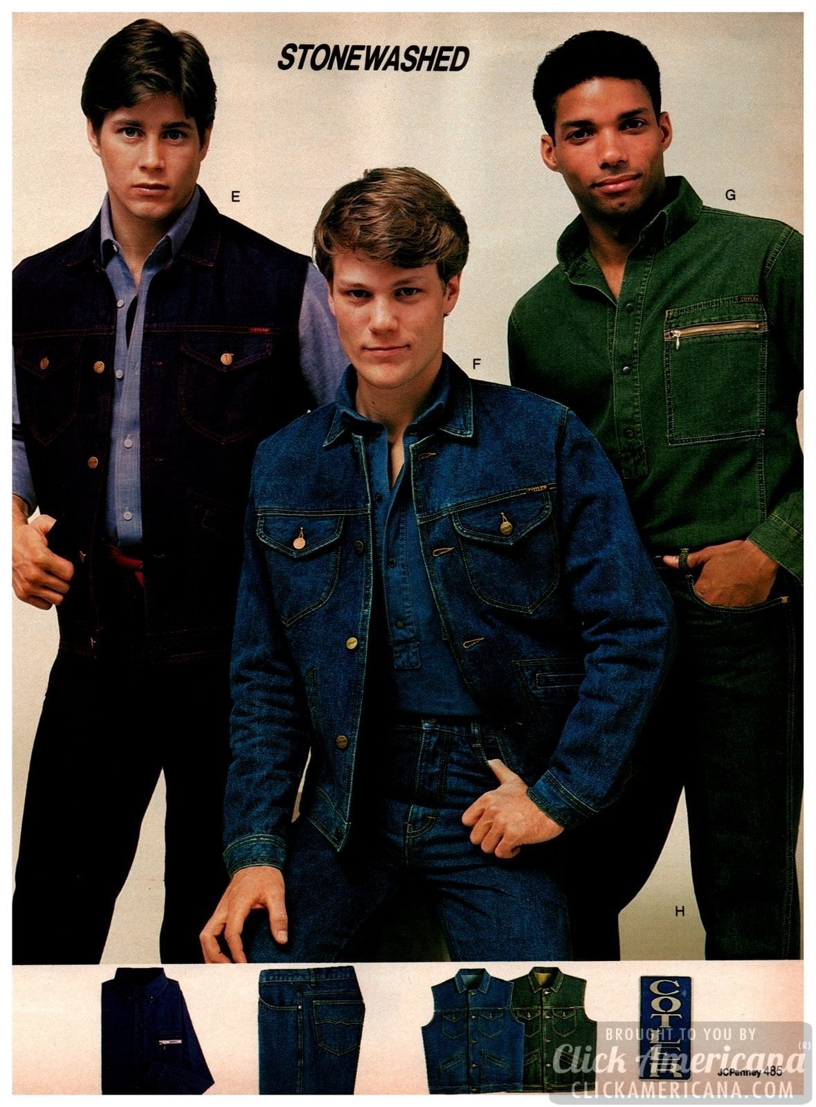 Retro stonewashed denim jackets, vests and jeans