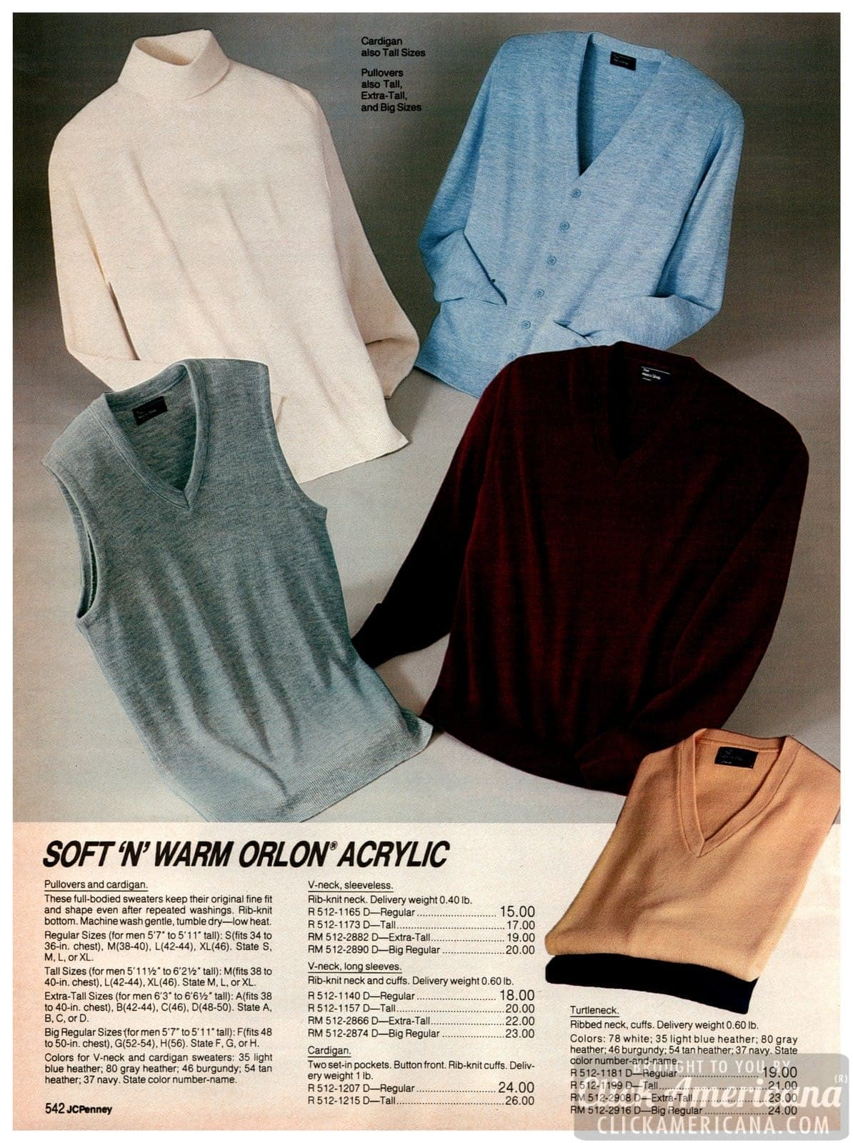 Soft 'n' warm Orlon acrylic pullovers, cardigans, V-neck sweaters and turtlenecks for men