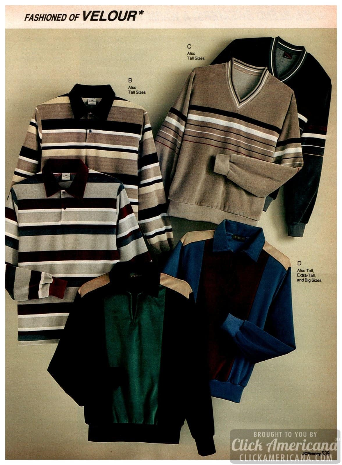 Eighties pullover sweaters and velour jackets for men