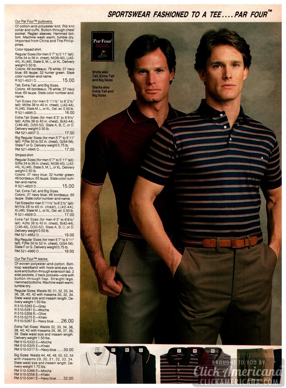 Par Four pullovers and striped shirts for men - plus slacks in gray, mocha, olive, khaki and navy blue