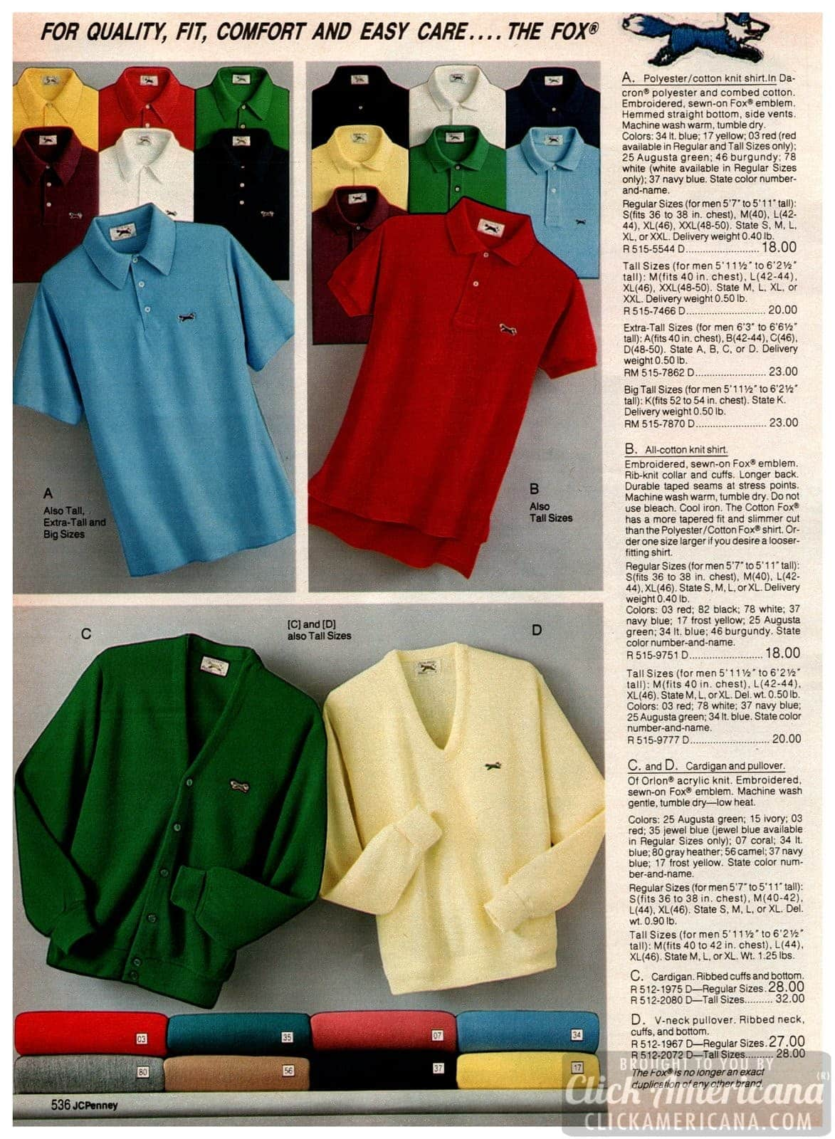 The Fox polo shirts for men and boys