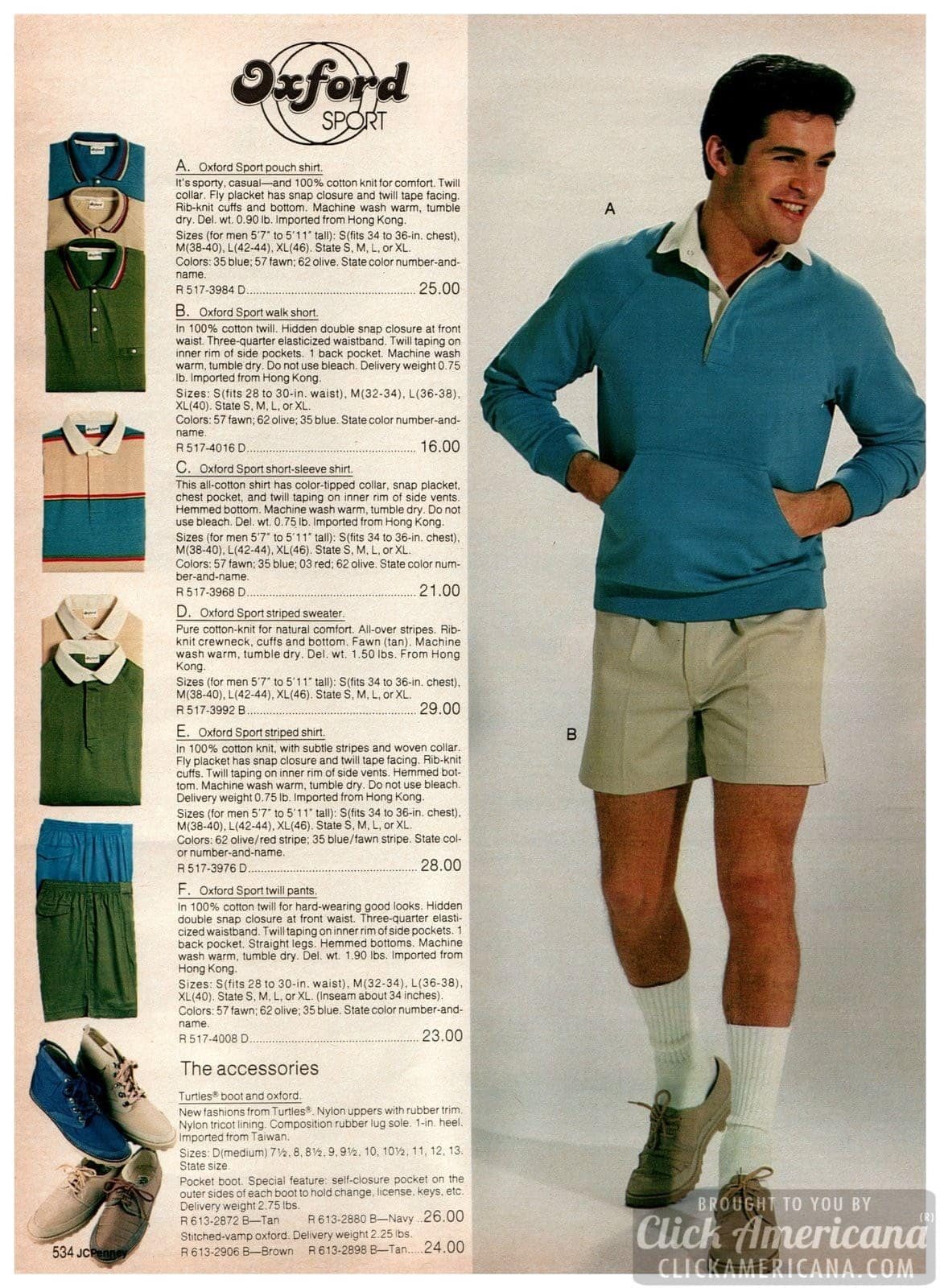 Oxford Sport workout and casualwear - pouch shirt, walking shorts and Turtles Oxford shoes in tan and brown