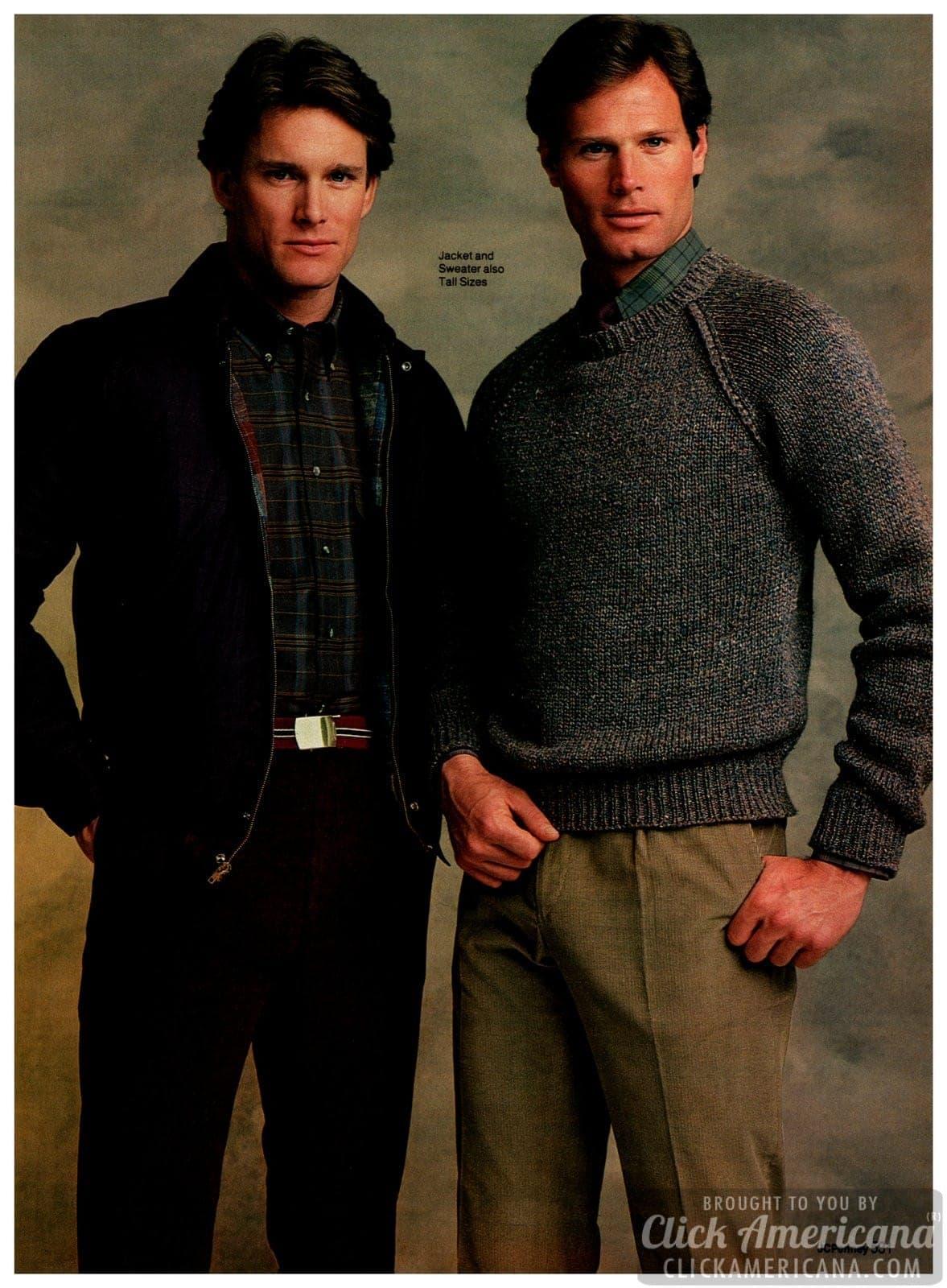 Tweed slacks, plaid shirts, khaki pants, corduroy slacks (cords) and webbed cotton belts for guys