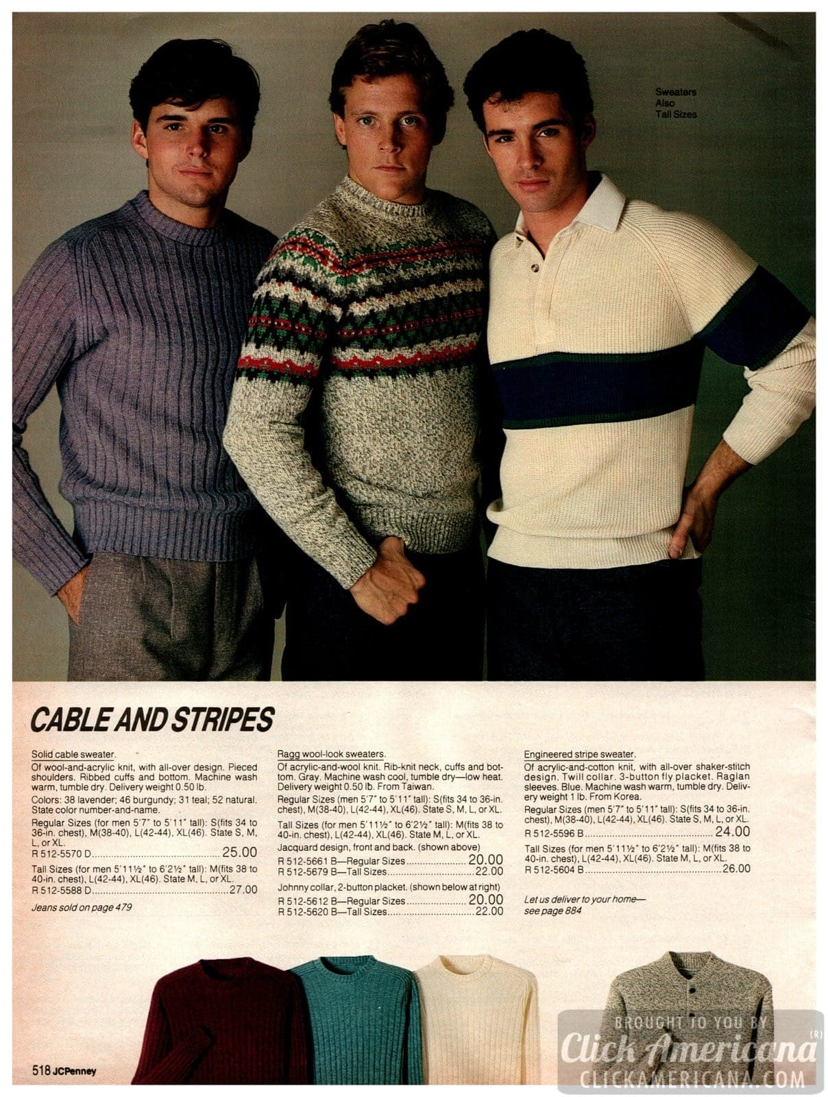 Cable-knit and striped sweaters for men