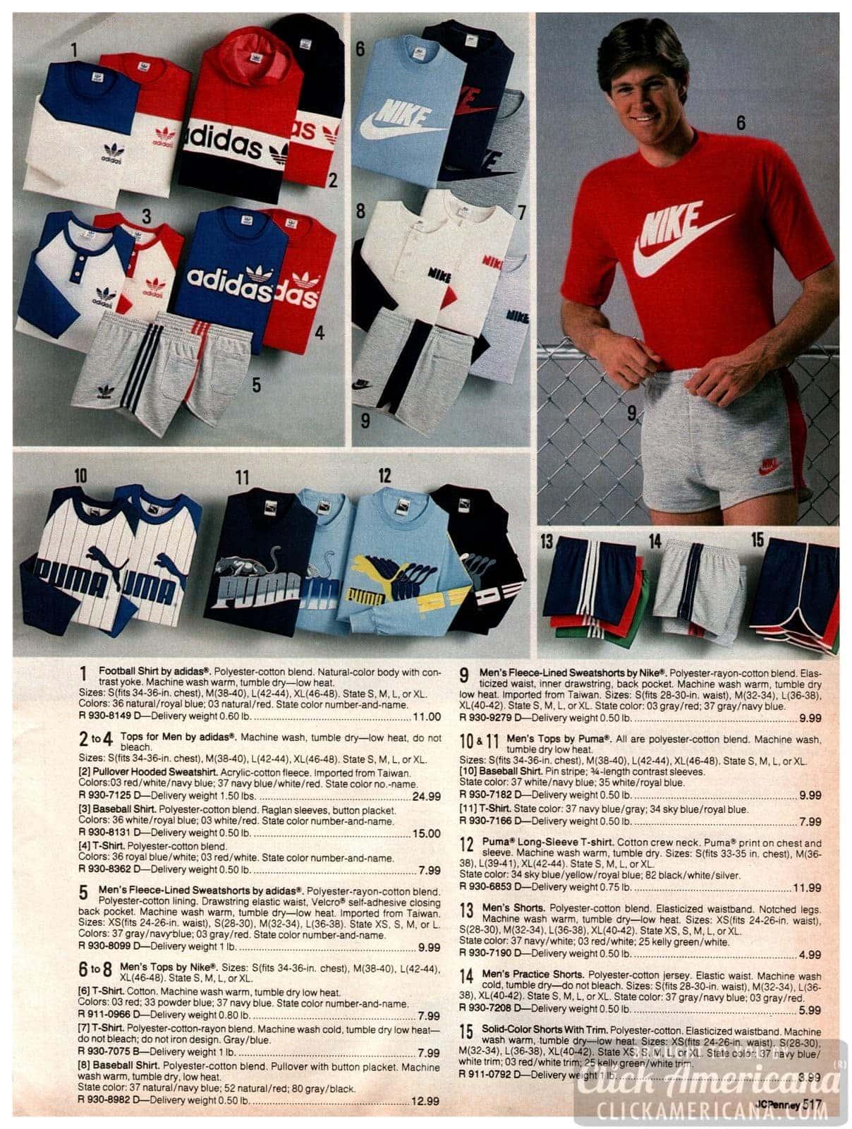 Vintage sportswear brands for men - Nike, Adidas, Puma