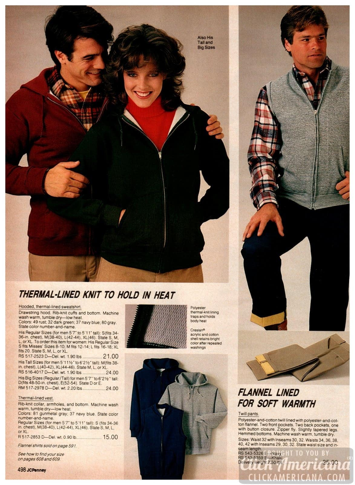 Thermal-lined knit jackets, hoodies and vests