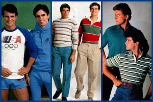 Casual vintage 80s menswear, from polo shirts to tracksuits
