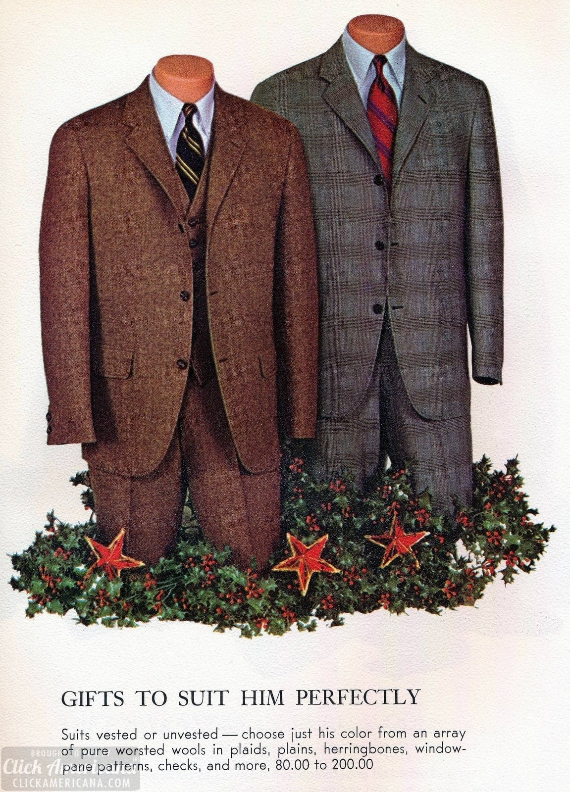 Vested and unvested classic vintage suits for men