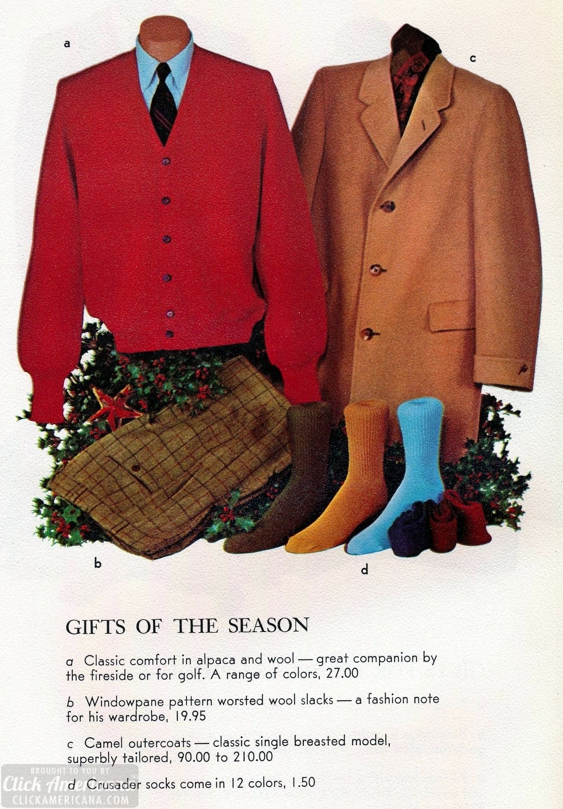 Vintage sweaters, slacks, outercoats and socks for men