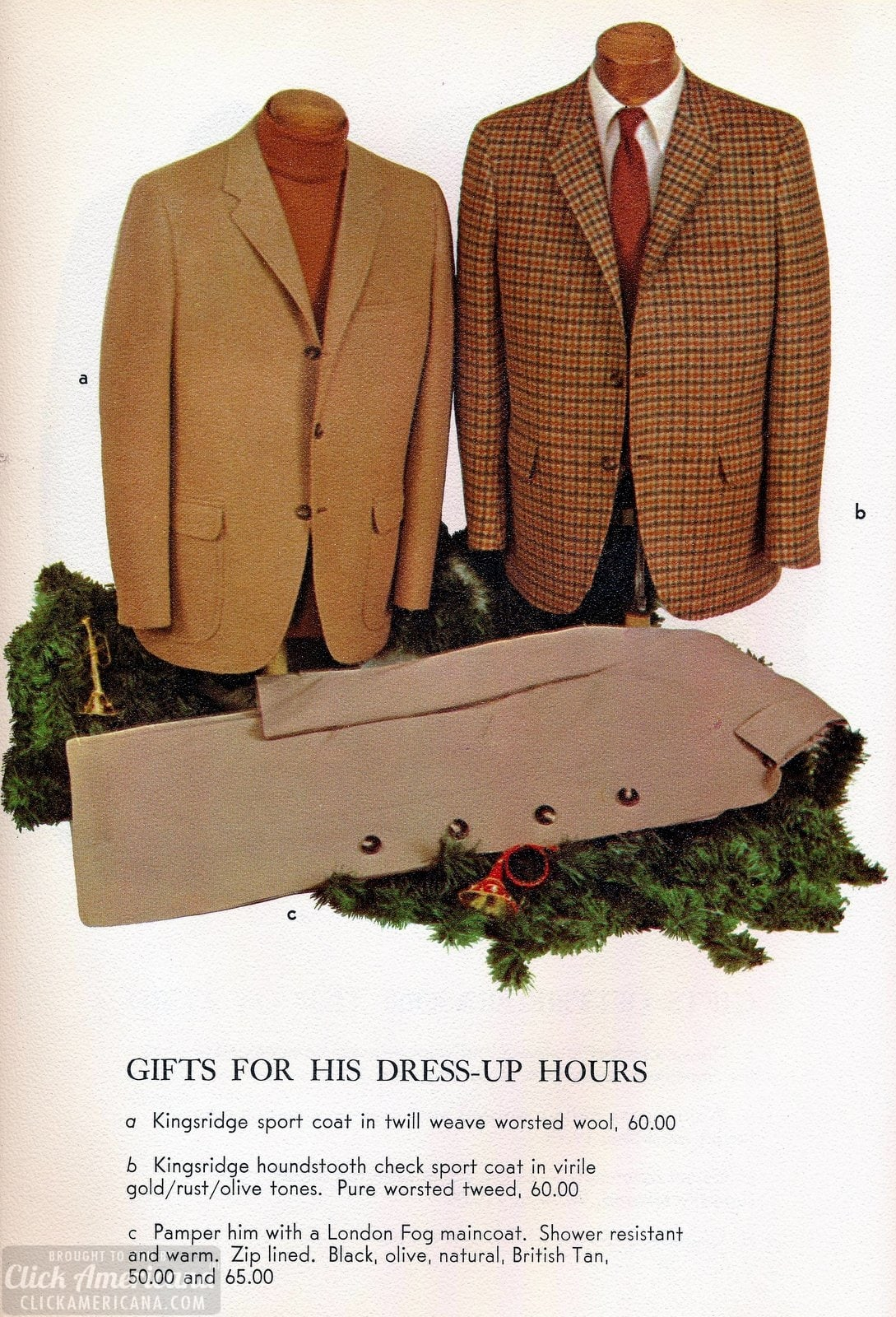 Sports coats for men and London Fog maincoats