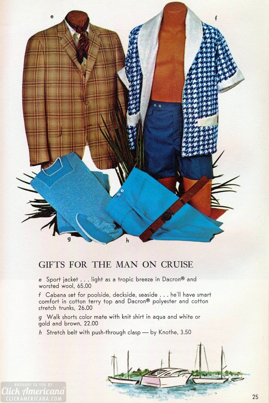Vintage cruise wear and sports jackets, plus walking shorts for men