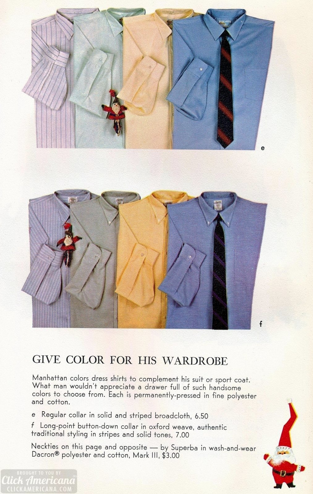 Vintage collared shirts for men in colors and striped broadcloth