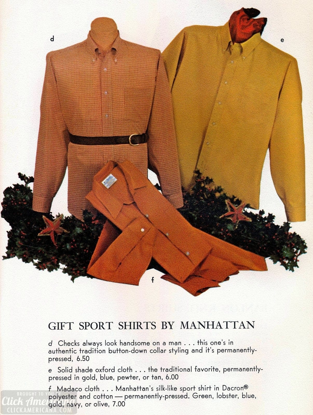 Sixties gift sports shirts by Manhattan - checks, solid Oxford, Madaco cloth