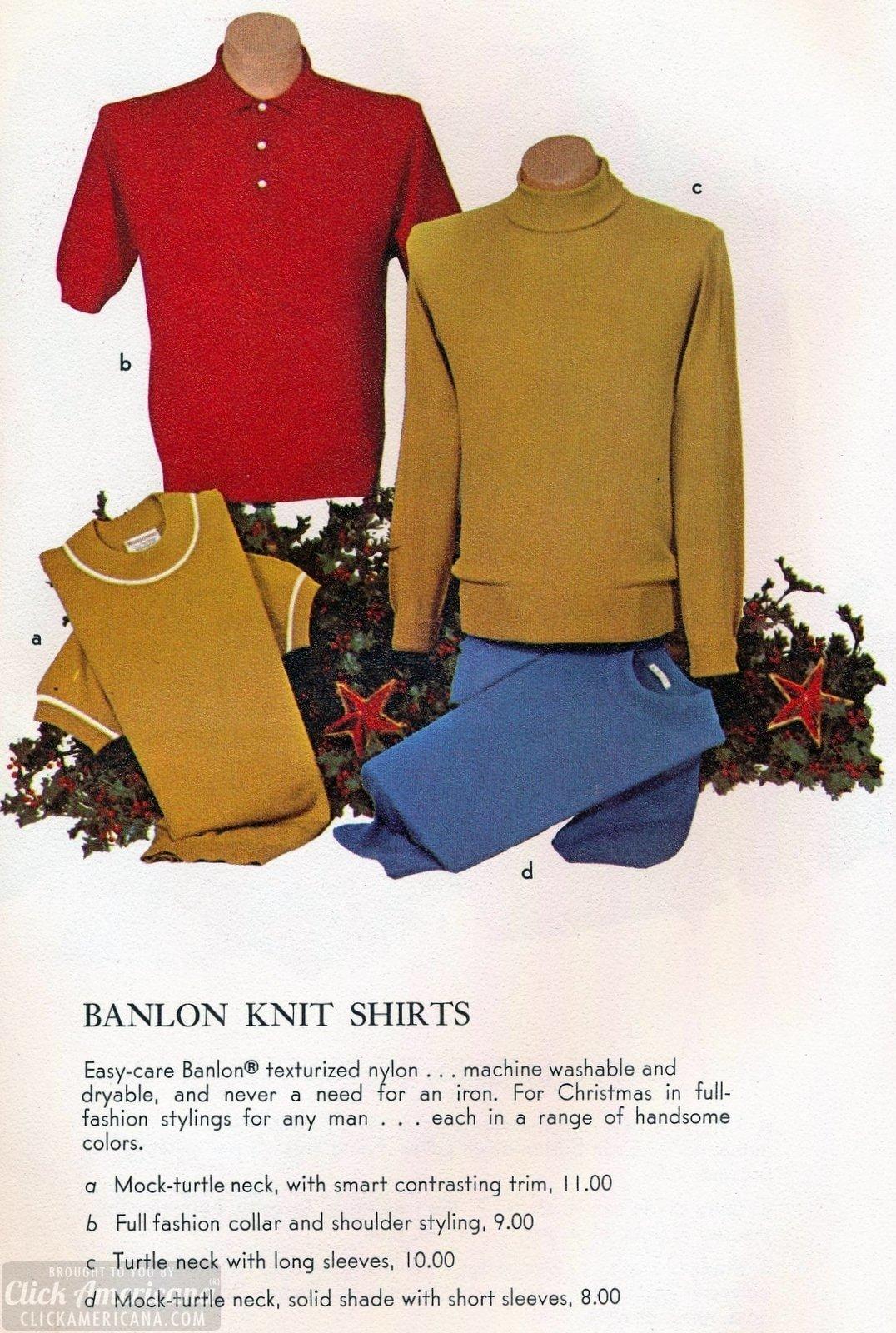 Vintage Banlon nylon casual knit shirts for men
