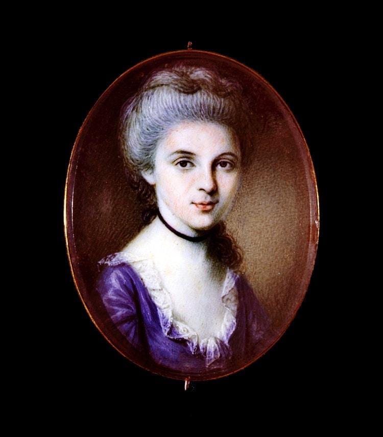 Catherine Kitty Floyd, bust portrait miniature (1783)