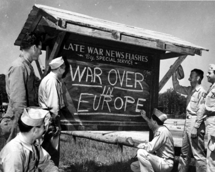 Celebrating VE Day - Victory in Europe 1945 - Chalkboard