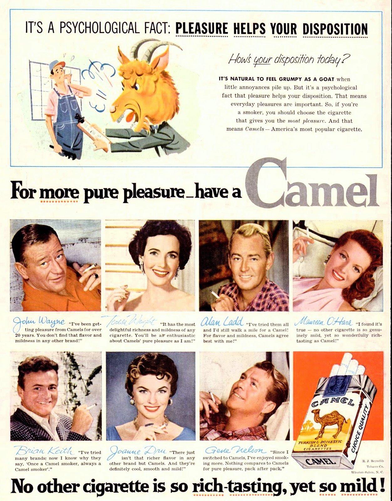 Celebrities pitch Camel cigarettes (1955)