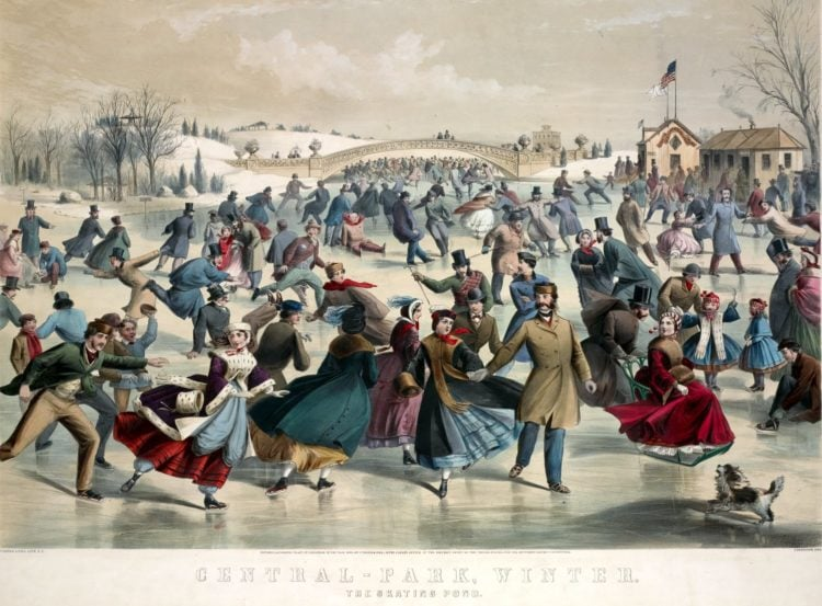 ice skating at Central Park, winter. The skating pond. New York 1862