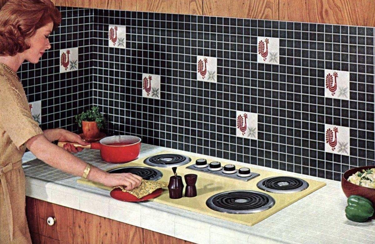 Decorative rooster ceramic tile backsplashes (1962)
