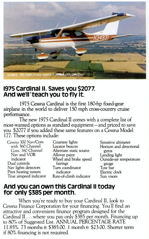 Cessna 1975 Cardinal II aircraft