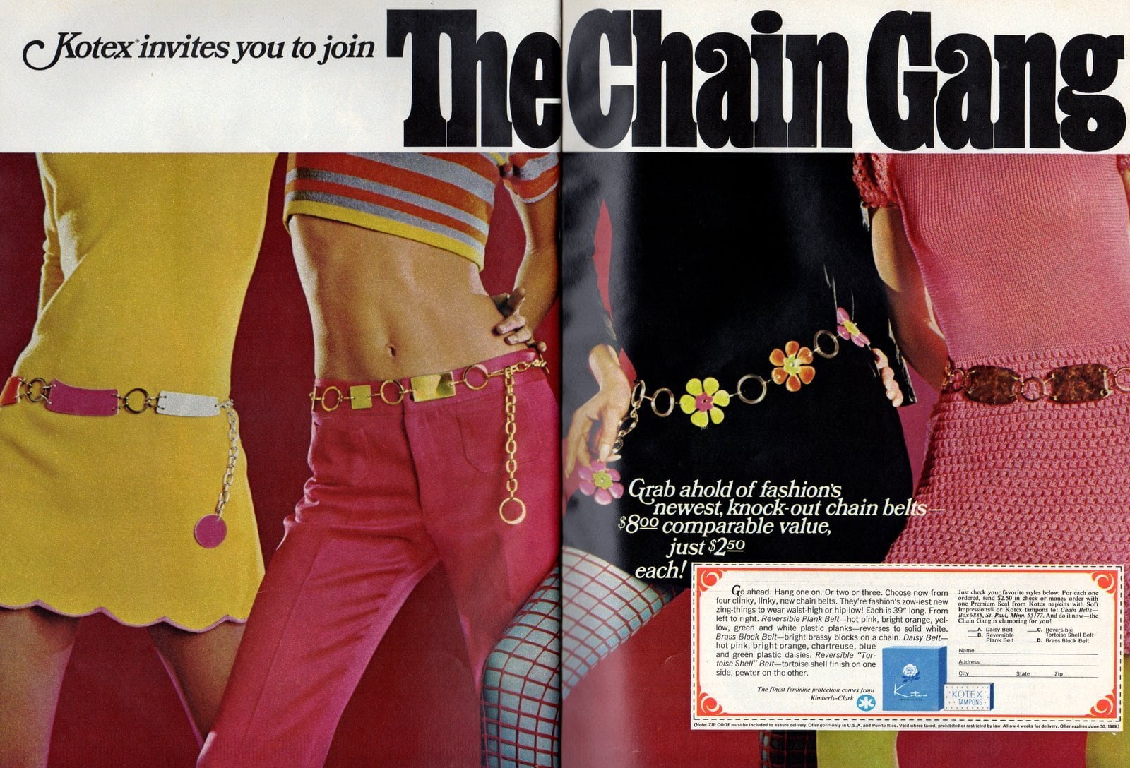 Chain belts from Kotex - vintage offer (1968)