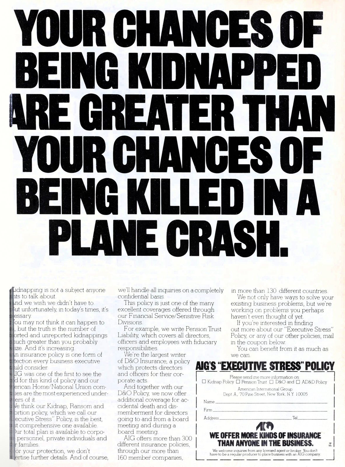 Chances of being kidnapped - AIG Executive Stress policy from 1978 (1)
