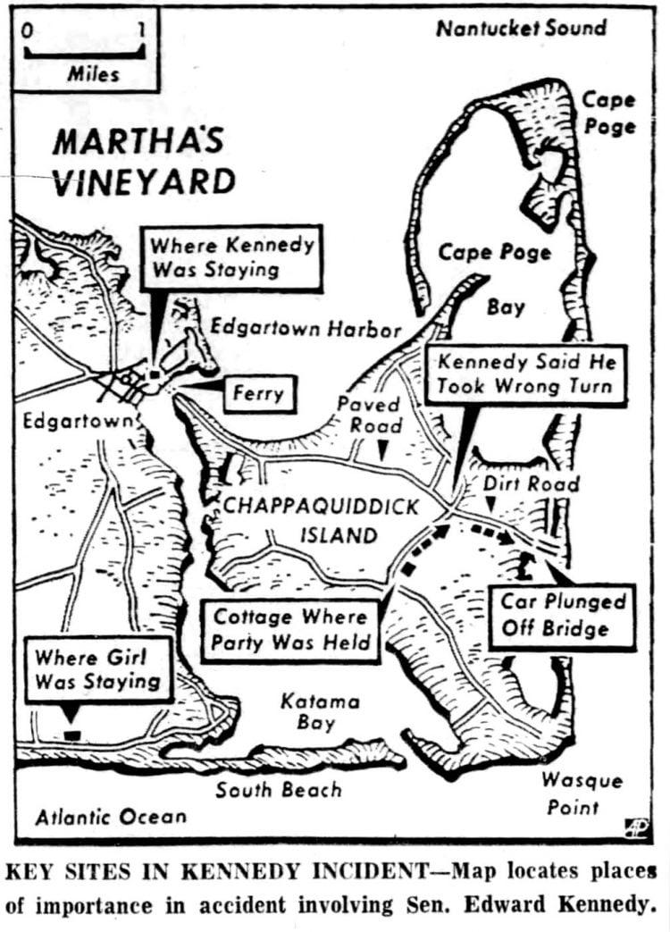 Ted Kennedy's Chappaquiddick incident - Martha's Vineyard map - 1969