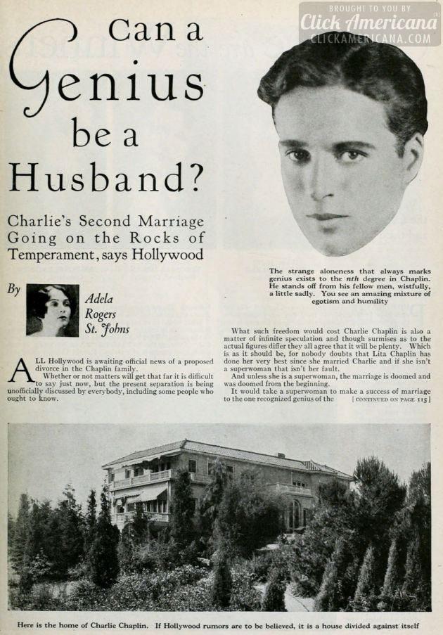 Charlie Chaplin genius husband - 1927