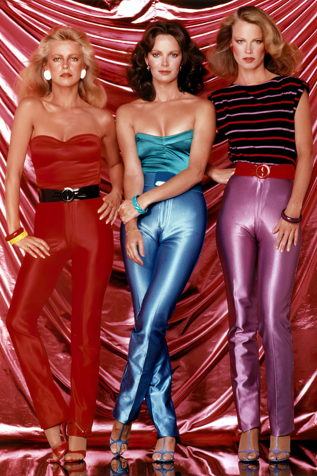 Charlie's Angels actresses in tight satin vintage pants