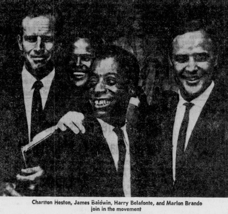 Charlton Heston, James Baldwin, Harry Belfonte Marlon Brando join in the movement