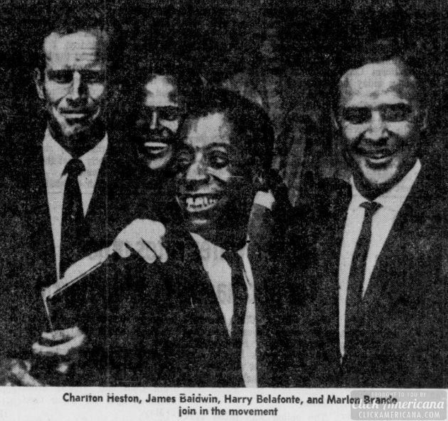 Charlton Heston, James Baldwin, Harry Belfonte Marlon Brando join in the movement