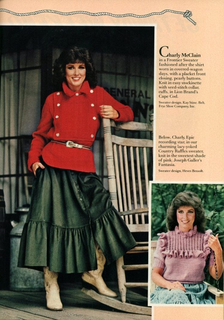 Country sweaters, 80s prairie revival, cottagecore, cottagecore dress, prairie dress