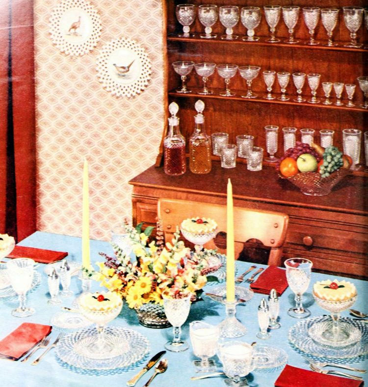 Charming old glassware for dining table placesettings from the fifties