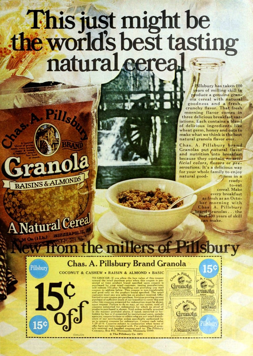 Chas A Pillsubry Granola cereal(1973)