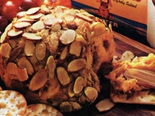 Cheddar-brandy almond-covered cheese ball
