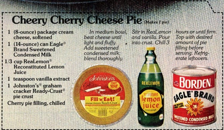 Cheery cherry cheese pie recipe card 1978