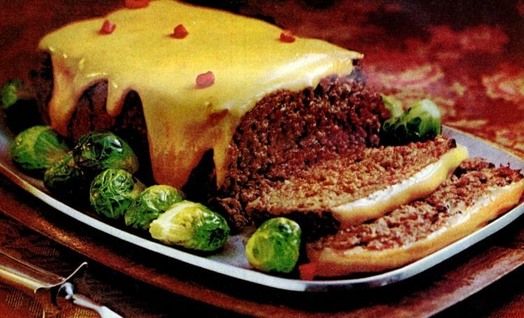 Cheese-sauced meatloaf recipe (1971)