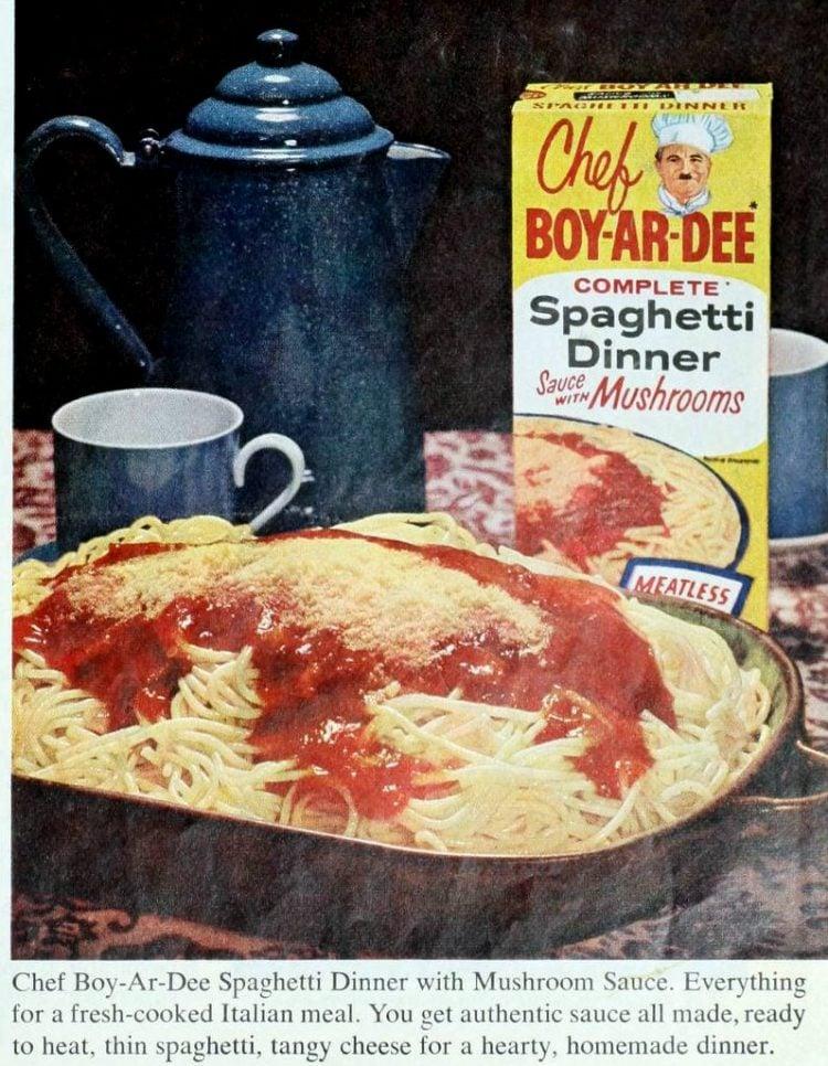 Chef Boy-Ar-Dee Spaghetti Dinner with Mushroom Sauce