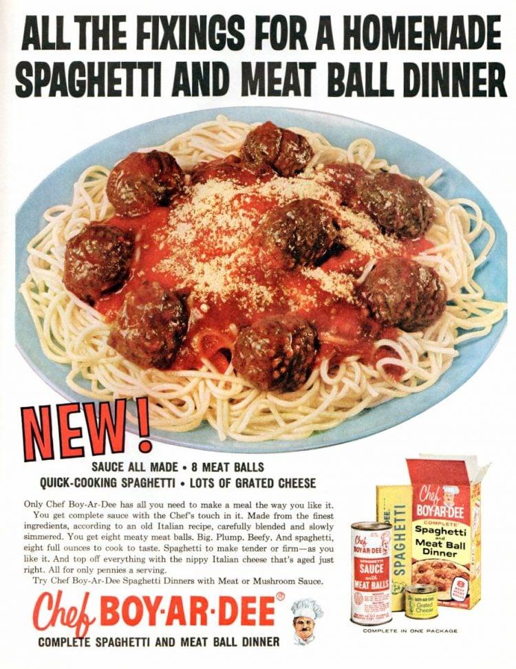 Chef Boy-Ar-Dee spaghetti and meatball dinner (1961)